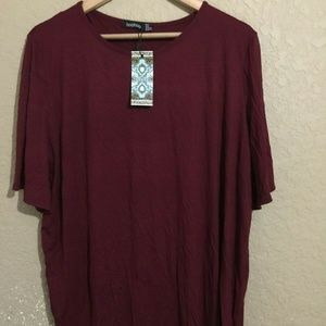 Boohoo Burgundy Blouse Sz 18 Plus Split Open Back